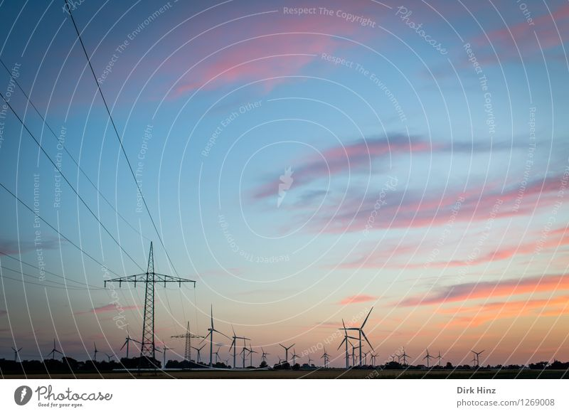 Sky Nature Landscape Clouds Environment Coast Horizon Energy industry Field Technology Future Electricity Industry Change Cable Wind energy plant
