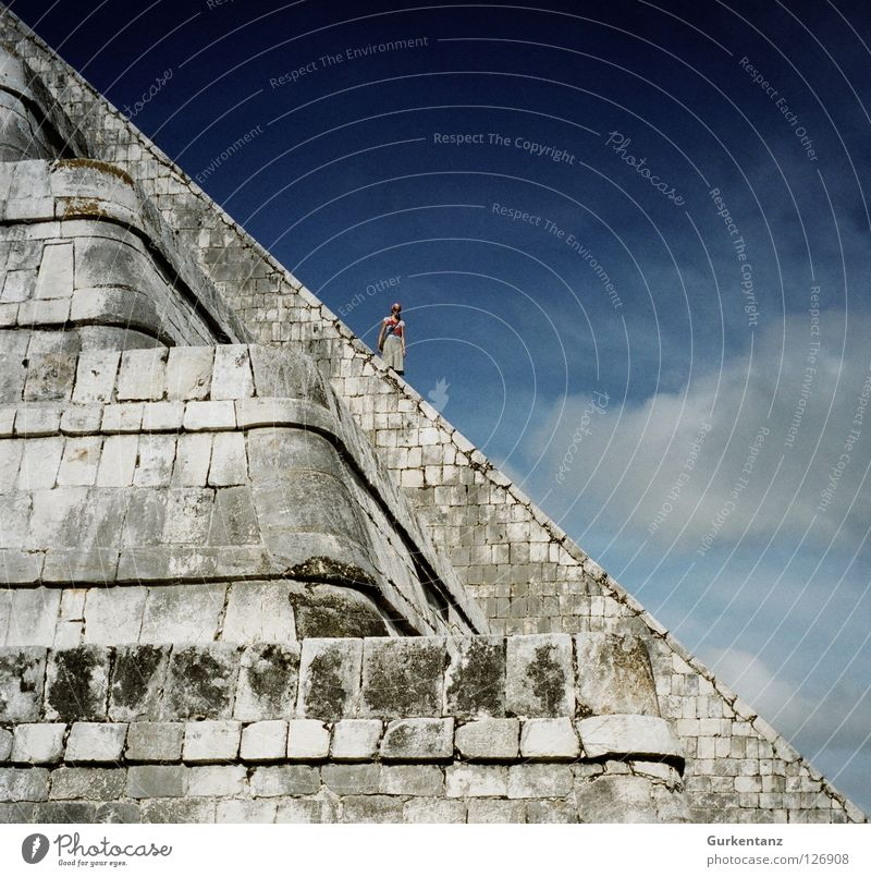 Woman Human being Sky Clouds Stone Stairs Corner Climbing Historic Go up Mexico Steep Temple Descent