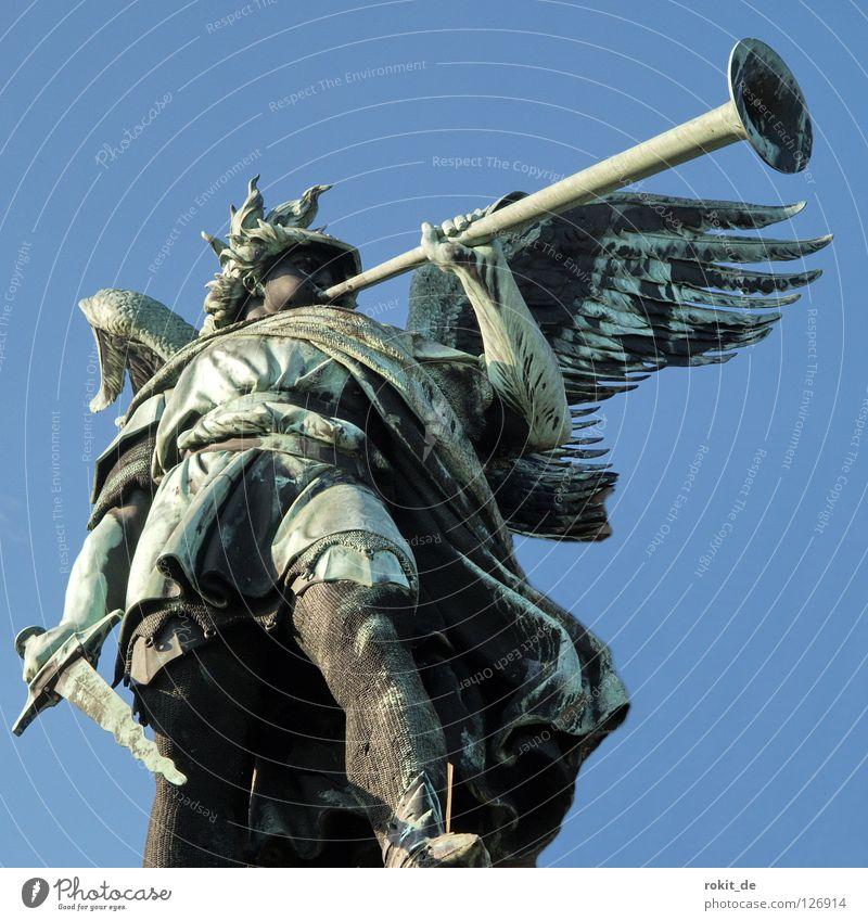 I'll blow you a march! Trumpet Brass band music Sword Trombone Blow Rüdesheim Rheingau Loud Clang Beat Pierce Lips Helmet Landmark Monument Peace Entertainment
