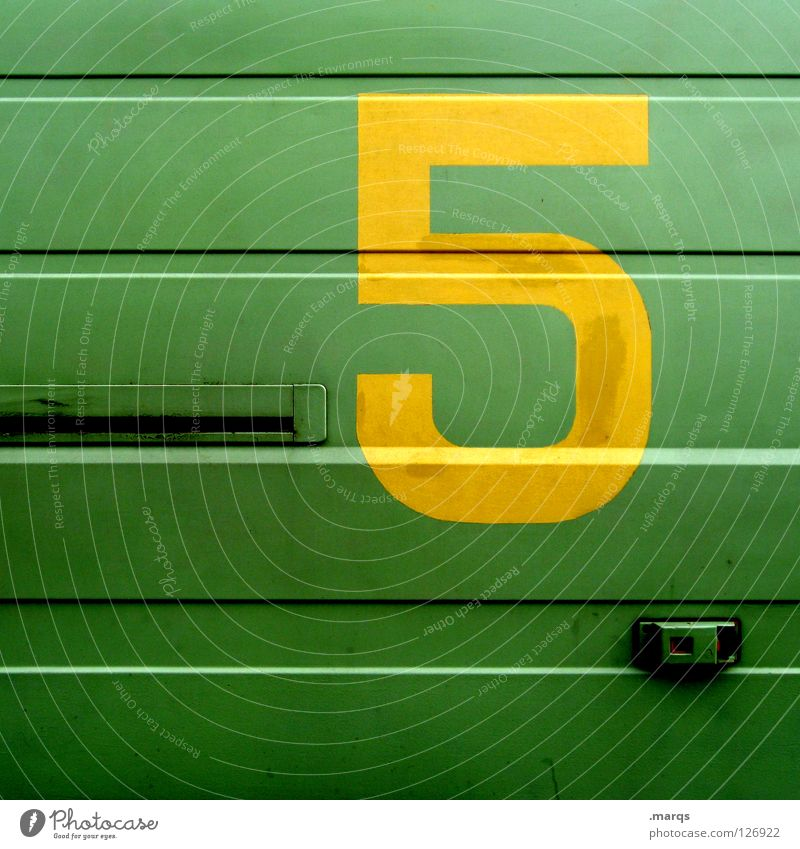 5 More Days Structures and shapes Surface Tin Digits and numbers Typography Characters Flashy Gaudy Green Yellow Line Metal Contrast Bright Colours Inscription