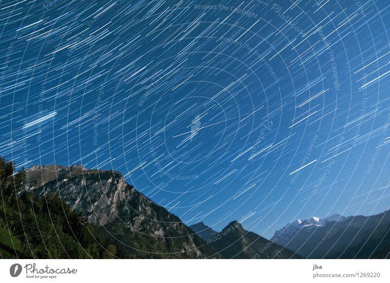 Kiental at night Harmonious Calm Summer Mountain Nature Landscape Sky Night sky Stars Autumn Beautiful weather Rock Alps Blüemlisalp Peak Kien valley
