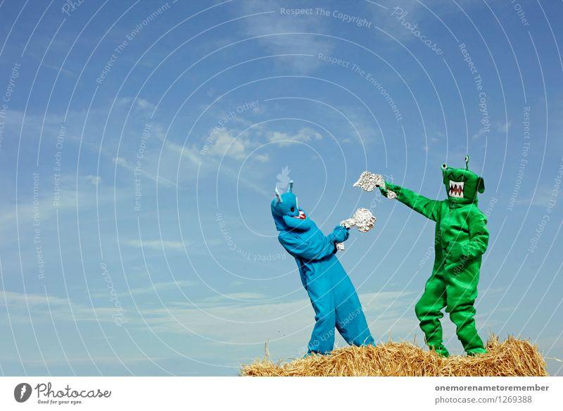 Blue Green Joy Playing Art Esthetic Argument Fight Work of art Carnival costume Converse Monster Martial arts Dress up Comical Handgun