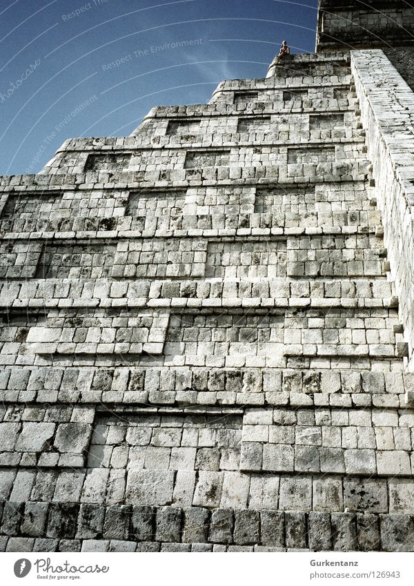Maya wall Temple Native Americans Central America Steep Go up Mountaineering Mexico House of worship Historic chichen itzamaya Pyramid Sky little man Stone