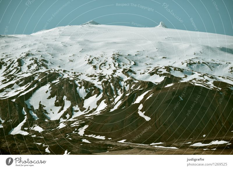 Iceland Environment Nature Landscape Elements Climate Weather Frost Snow Mountain Peak Snowcapped peak Glacier Volcano Snæfellsnes Fat Gigantic Large Cold