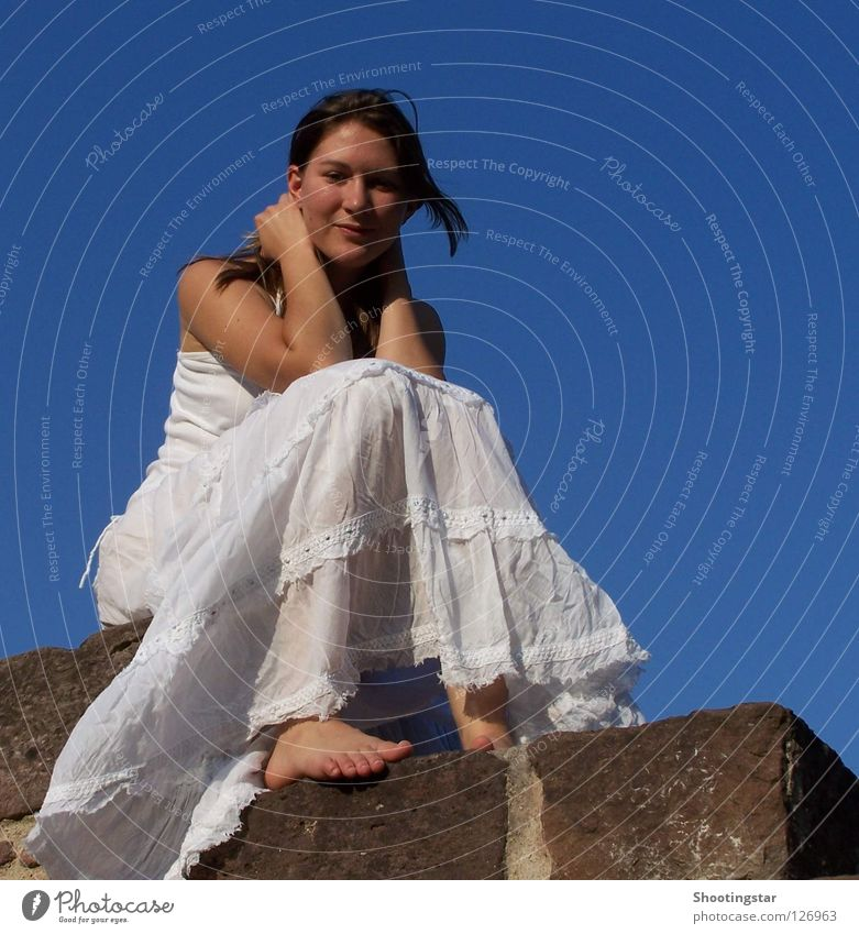all in white White Bride Wall (barrier) Grief Barefoot Think Pensive Happiness Dress Brunette Long-haired Vacation & Travel Beautiful Dream Woman Blue Sky