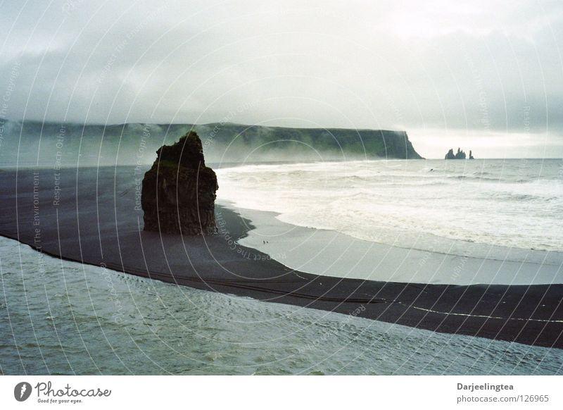 Iceland Coast Ocean Lava Beach Clouds Surf Black Water Rock rock needle