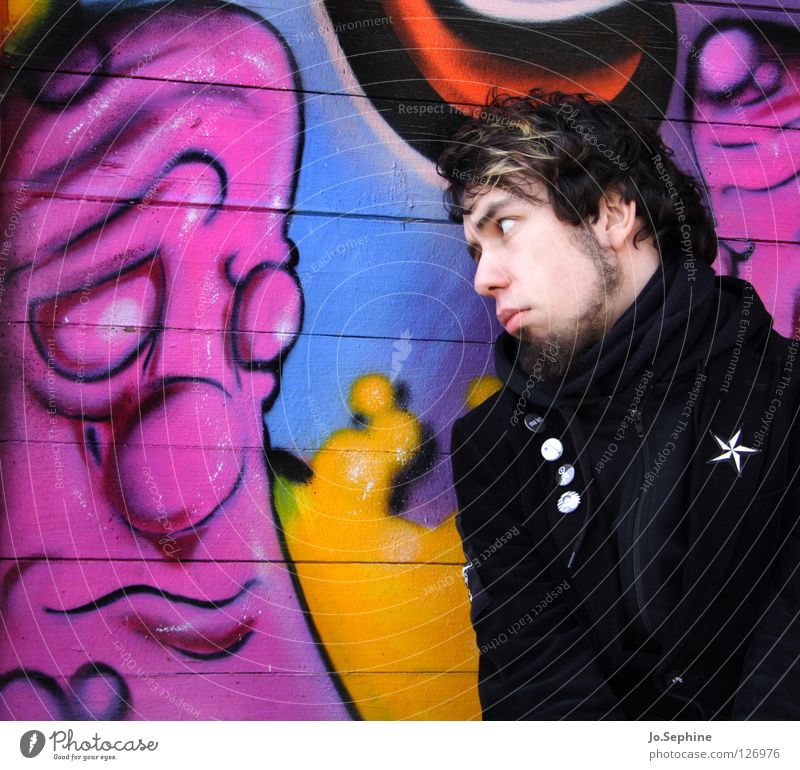 Man Adults Graffiti Wall (building) Emotions 18 - 30 years Fear Communicate Facial hair Timidity Monster To console Compassion Insecure Mural painting Sulk