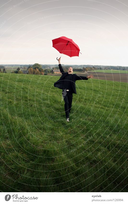 Sky Man Green Red Joy Clouds Black Life Meadow Playing Landscape Jump Movement Laughter Art Funny