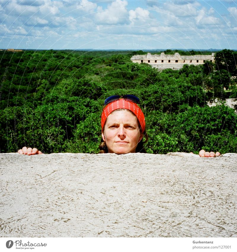 75 - Look! Uxmal Temple Maya Clouds Green Wall (barrier) Fingers Sunglasses Headscarf Woman Forest Tree Virgin forest South America Yucatan Red Mexico Derelict