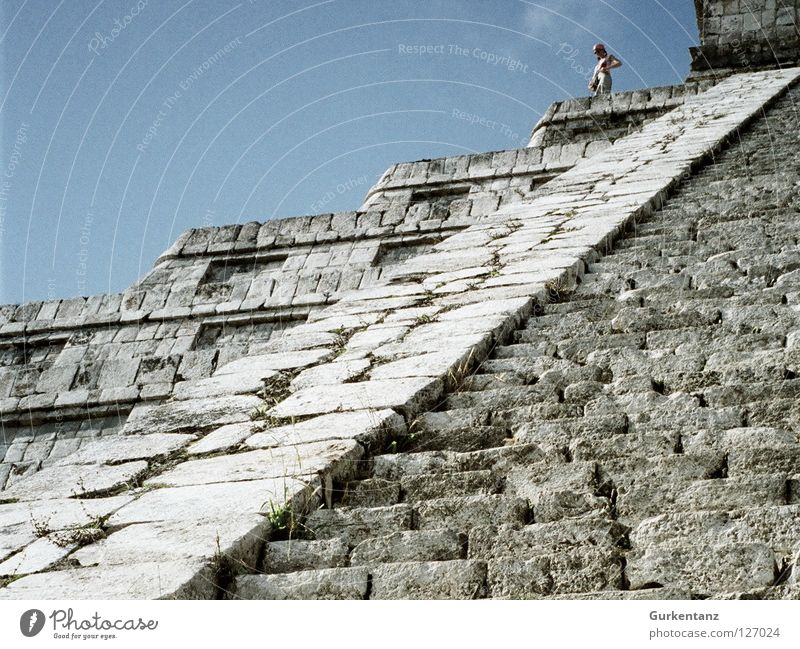 Woman Human being Sky Stone Stairs Climbing Mountaineering Go up Mexico Steep Temple Descent Pyramid Native Americans