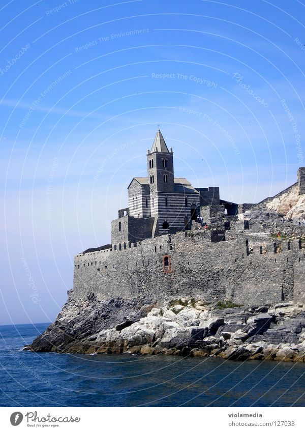 San Pietro Ocean Italy Portovenere Cinque Terre Fortress Boating trip Summer Liguria Romance Loneliness Cliff Felsenkirche Belief Religion and faith Wet Cold