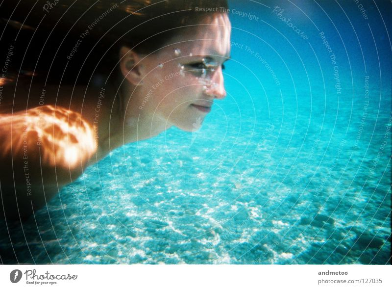 underwater splash Underwater photo Lake Cyan Blue Swimming pool Mermaid Nixie (Water Spirit) Turquoise Ocean Summer Silhouette Air bubble Reflection