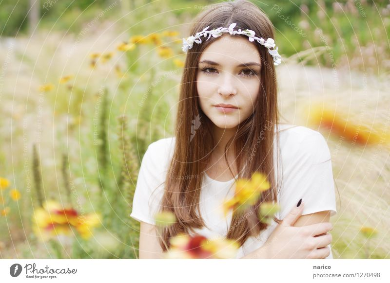 Human being Nature Youth (Young adults) Plant Summer Young woman Flower Landscape 18 - 30 years Adults Emotions Grass Feminine Garden Hair and hairstyles Fashion