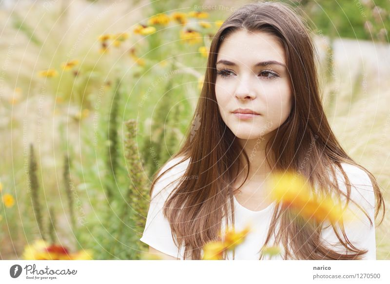 Human being Nature Youth (Young adults) Plant Beautiful Summer Young woman Flower 18 - 30 years Adults Environment Grass Feminine Think Garden