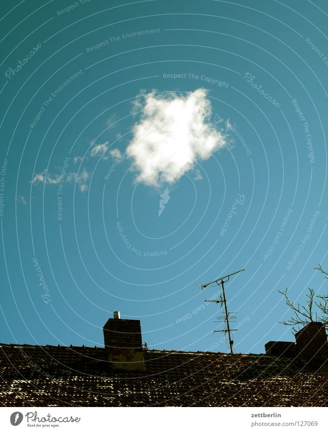 Sky Clouds Roof Transience Television Chimney Antenna Sky blue