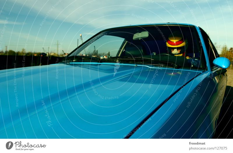 Full speed ahead Car Motoring Car driver In transit Driving Car Hood Front view Windscreen Car Window Car body Detail Partially visible Section of image Retro