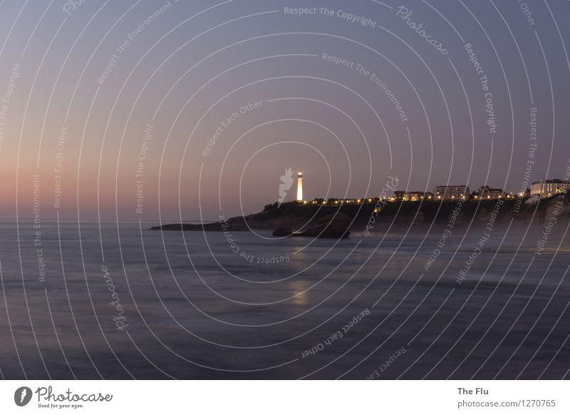 Shine, tower, shine! Vacation & Travel Tourism Beach Waves Landscape Water Cloudless sky Beautiful weather Coast Bay Ocean Atlantic Ocean Biarritz