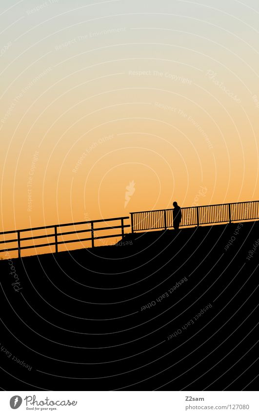 alone in the hall Loneliness Man Sunset Physics Going Rung Black Relaxation Leisure and hobbies Human being Warmth Silhouette Walking Handrail Mountain berauf