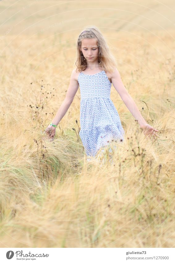 Human being Child Vacation & Travel Beautiful Summer Relaxation Girl Life Feminine Happy Dream Field Meditative Idyll Infancy Blonde