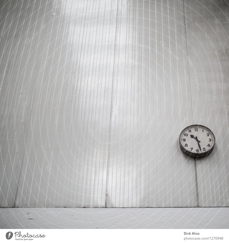 Old White Wall (building) Architecture Building Wall (barrier) Gray Time Line Arrangement Clock Gloomy Transience Industry Retro Stripe