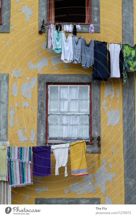 washing day Living or residing Flat (apartment) House (Residential Structure) Porto Portugal Europe Town Old town Deserted Facade Window Shirt Underwear Clean