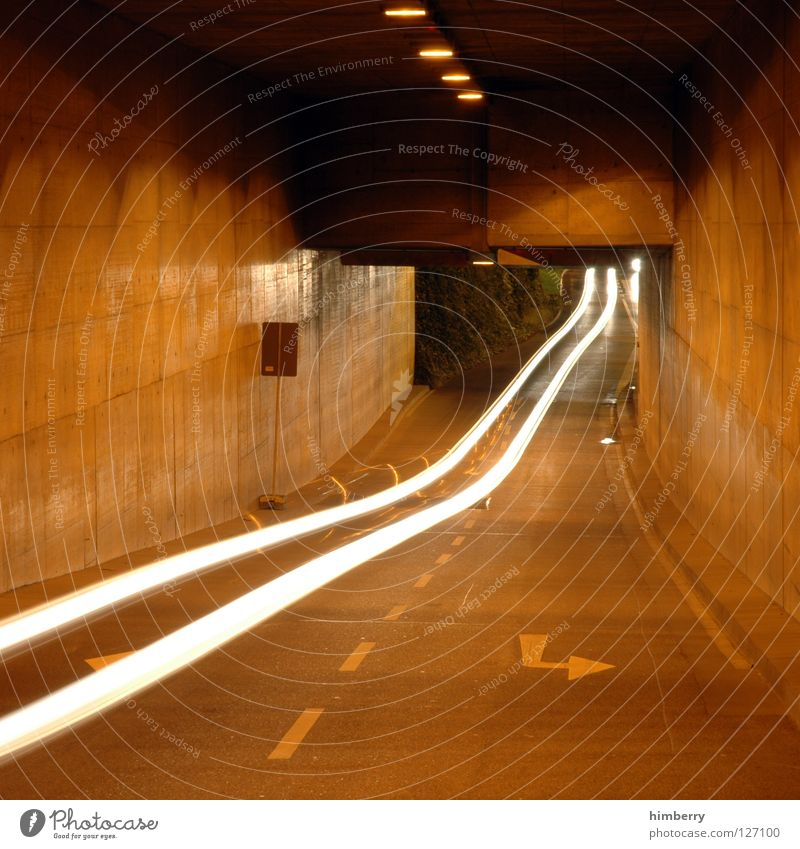 speedlimit 300 Tunnel Transport Concrete Night Long exposure Speed Motor vehicle Light Leadfoot Driving Turn off Tracks traffic Car Street channel city lights