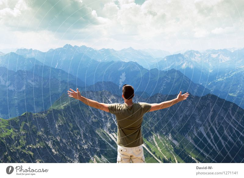 sense of freedom Athletic Fitness Contentment Vacation & Travel Tourism Trip Adventure Far-off places Freedom Mountain Hiking Human being Masculine Young man