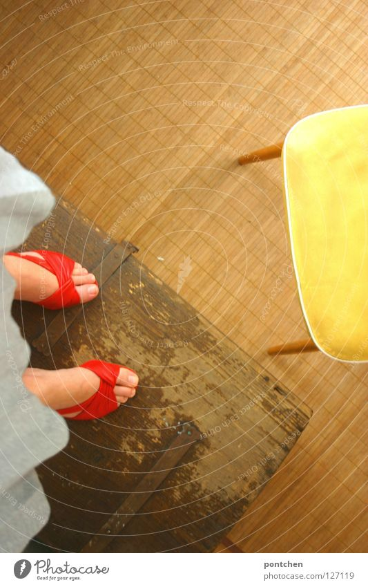 Woman Red Summer Joy Adults Far-off places Yellow Feminine Playing Above Wood Feet Footwear Room Stand Floor covering