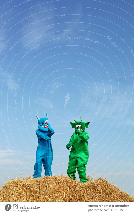 Cookiwooki Art Work of art Adventure Esthetic Ogre Monstrous Blue Green Monster Extraterrestrial being Dance Straw Party Party mood Party service Joy Comical