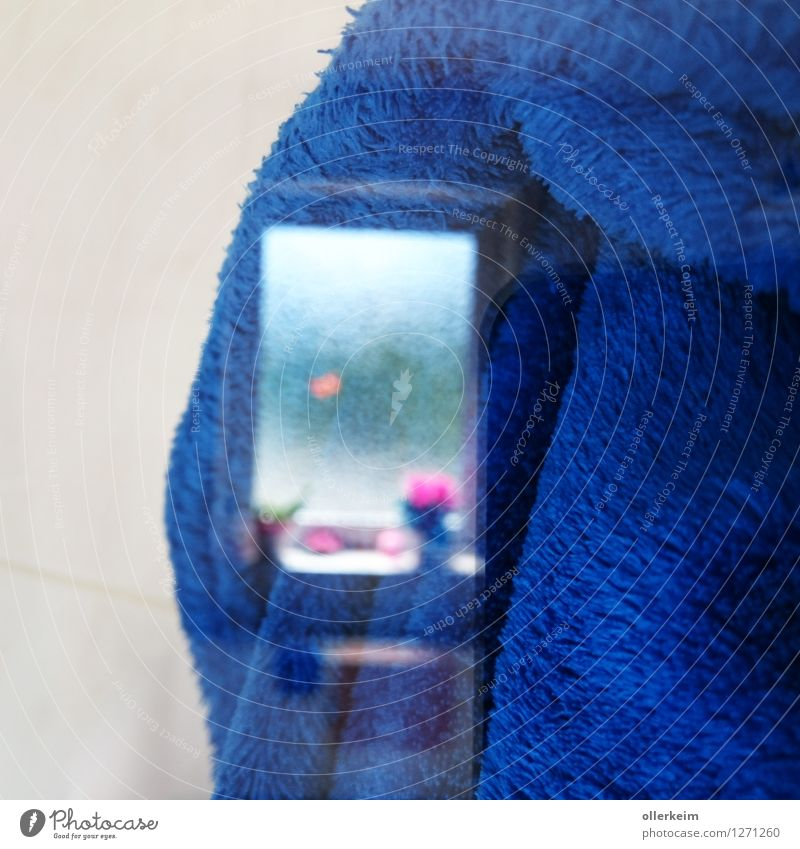 Window mirroring in terry towelling Room Bathroom Clothing Coat Bathrobe Mirror image Terry cloth Window board Blur Reflection Bright Cuddly Soft Blue White