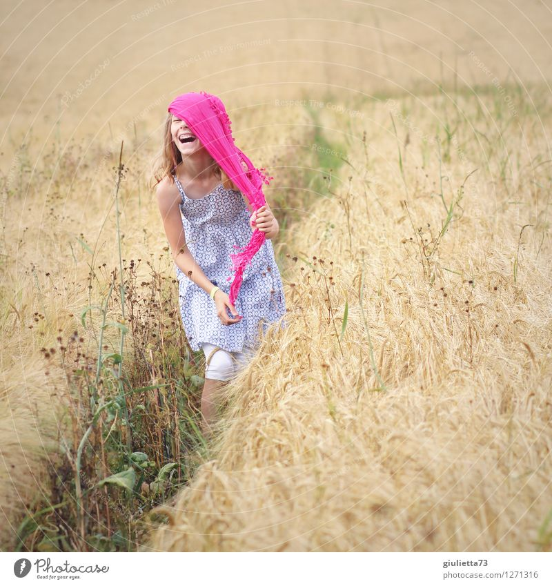 Human being Child Beautiful Summer Joy Girl Life Natural Feminine Funny Happy Laughter Pink Field Infancy Happiness