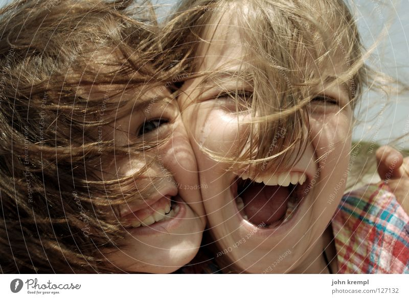 Family & Relations Youth (Young adults) Hair and hairstyles Wind Mouth Teeth Scream Embrace Daughter