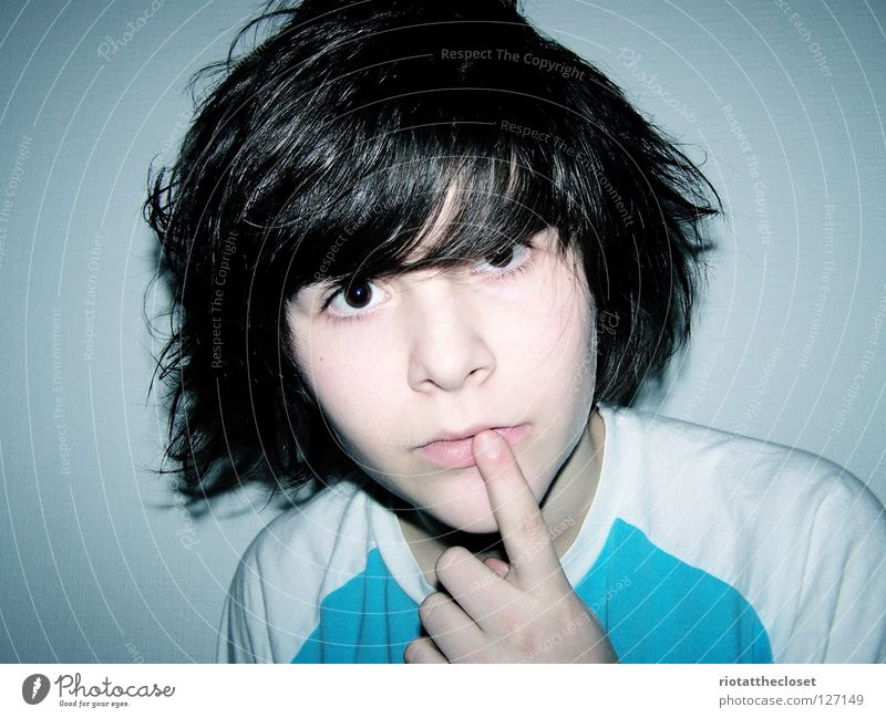 innocent Girl Black Fingers Innocent White Room Youth (Young adults) Blue Androgynous