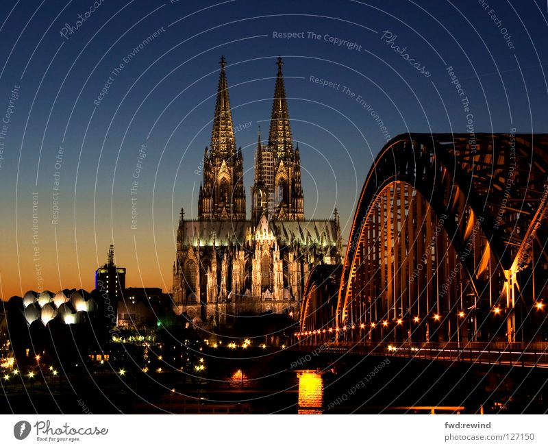 Cologne Cathedral Night Light House of worship Bridge Dome cathedral