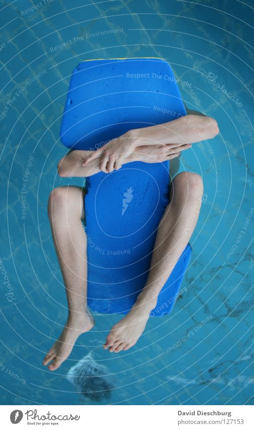 Funny Swimming & Bathing Individual Swimming pool To hold on Float in the water Whimsical Surface of water Anonymous Water wings Headless Faceless 1 Person Non-swimmer Men's leg Bright background