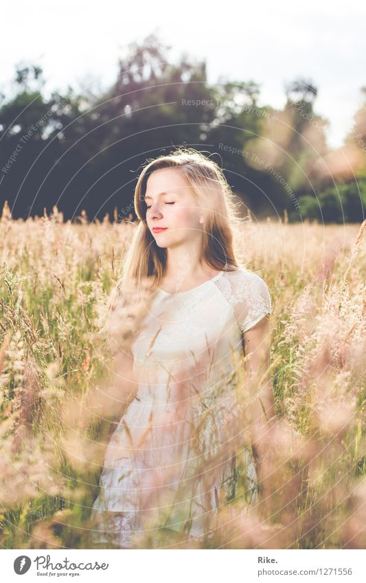 Human being Child Nature Youth (Young adults) Beautiful Summer Young woman Relaxation Landscape Calm 18 - 30 years Adults Environment Meadow Natural Feminine