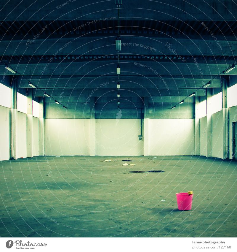 pinky pail Bucket Containers and vessels Tub Cleaning Wipe Spring cleaning Cleaner Dirty Warehouse Factory Factory hall Empty Concrete Trash Old Tracks Gully