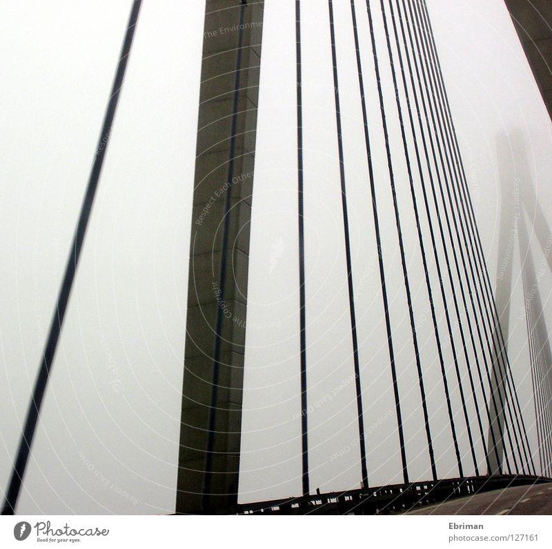 ghost bridge Fog Bridge Column Street Crash barrier Steel cable Gray Concrete Lanes & trails Driving Traverse Fjord Loneliness Bad weather Rope Line Graphic