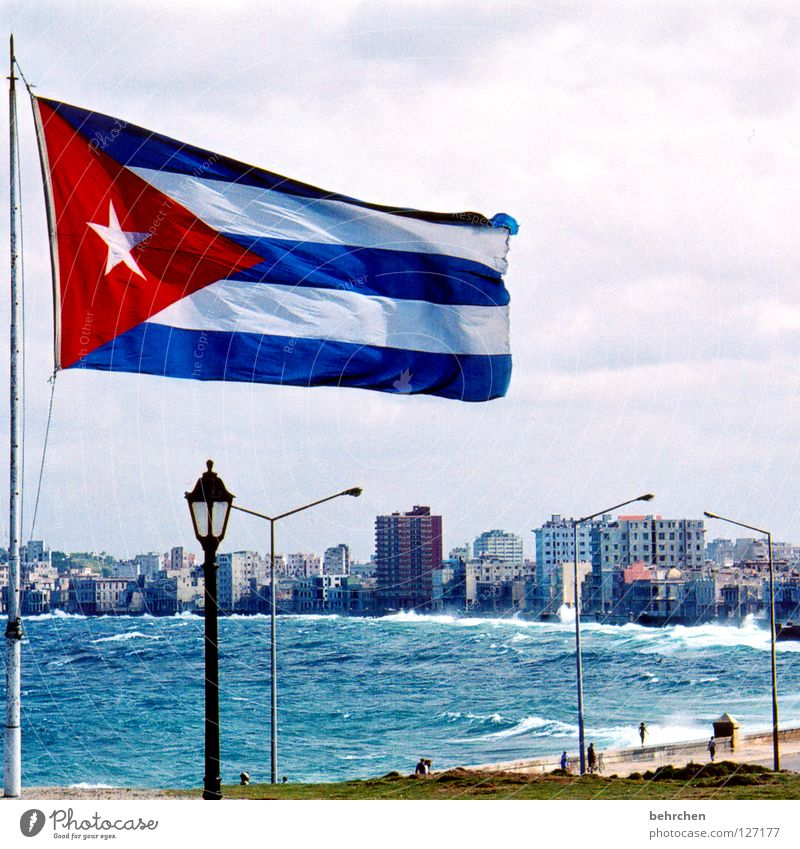 cuba libre Colour photo Exterior shot Vacation & Travel Ocean Waves House (Residential Structure) Water Sky Wind Gale Coast Capital city Landmark Monument