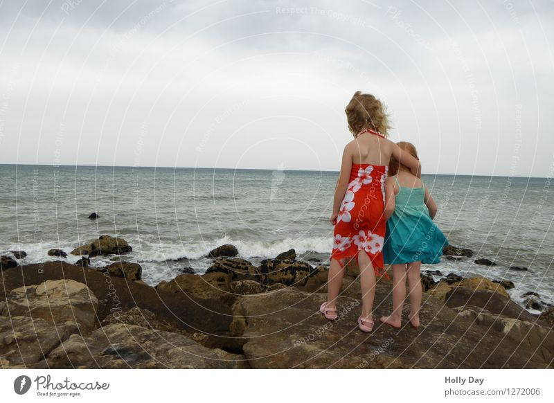 Behind is Africa - Two kids on the Portuguese beach Vacation & Travel Far-off places Freedom Summer Summer vacation Waves Human being Child Toddler Girl