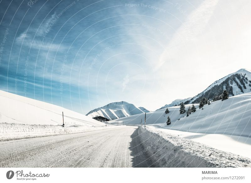 Winter landscape in the Alps Mountain Nature Landscape Transport Traffic infrastructure Street Cold Blue White Asphalt mountains hill Germany Frozen Europe