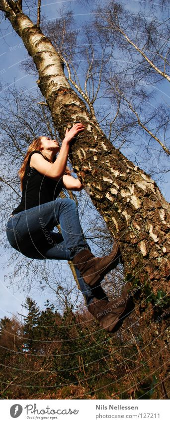 Woman Nature Tree Playing Jump Tall Success Climbing Brave Ease Monkeys Complex Reckless