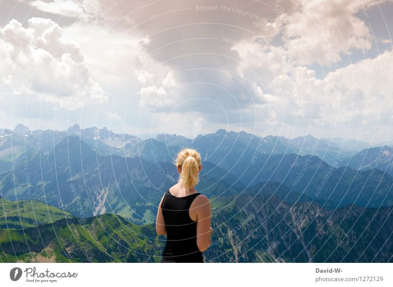 Human being Woman Sky Vacation & Travel Youth (Young adults) Summer Young woman Calm Clouds Joy Far-off places Adults Mountain Life Feminine Healthy