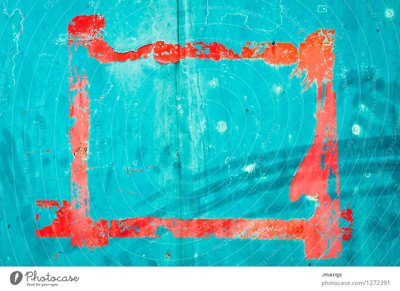 frames Style Design Wall (barrier) Wall (building) Metal Old Orange Turquoise Frame Scratch mark Colour photo Exterior shot Close-up Structures and shapes