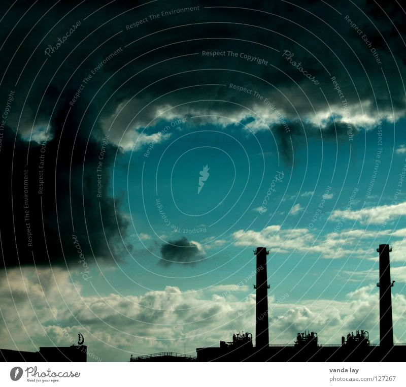 Sky Blue Clouds Dark Air Moody Dirty Environment Industry Energy industry Dangerous Threat Tower Climate Anger Turquoise
