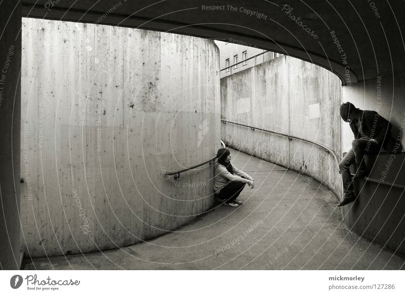 north by northwest Earnest Knee Reliability Masculine Disc jockey Culture Twin Mystic Black & white photo steeltown Men man Underpass Digital photography