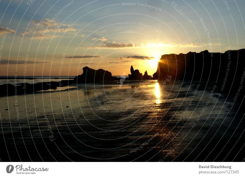 Water Sky Sun Ocean Blue Summer Beach Vacation & Travel Black Clouds Yellow Mountain Stone Sand Bright Coast