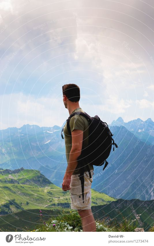 View into the distance Vacation & Travel Tourism Adventure Far-off places Freedom Summer Mountain Hiking Climbing Mountaineering Success Human being Masculine