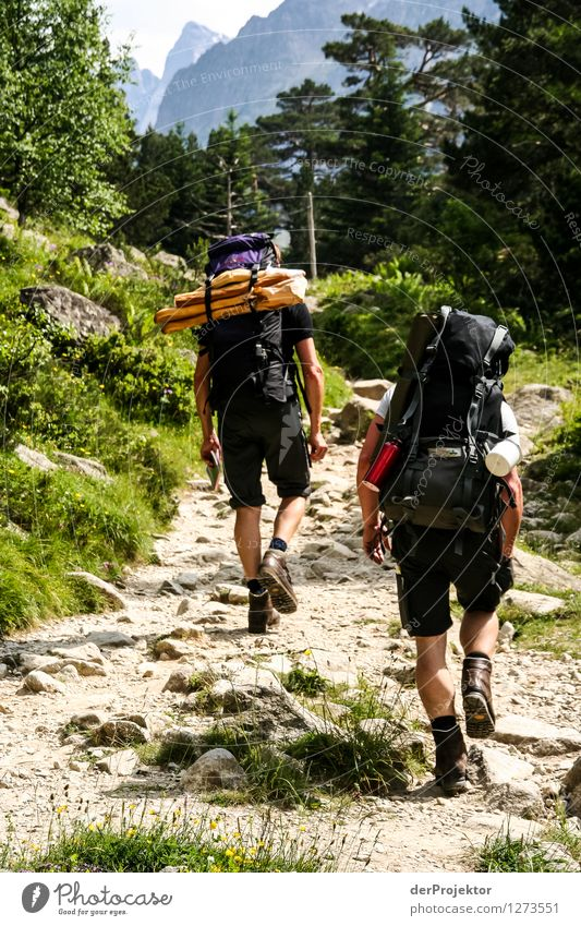Two hikers and two baguettes Vacation & Travel Tourism Trip Adventure Far-off places Freedom Expedition Summer vacation Mountain Hiking Human being Masculine
