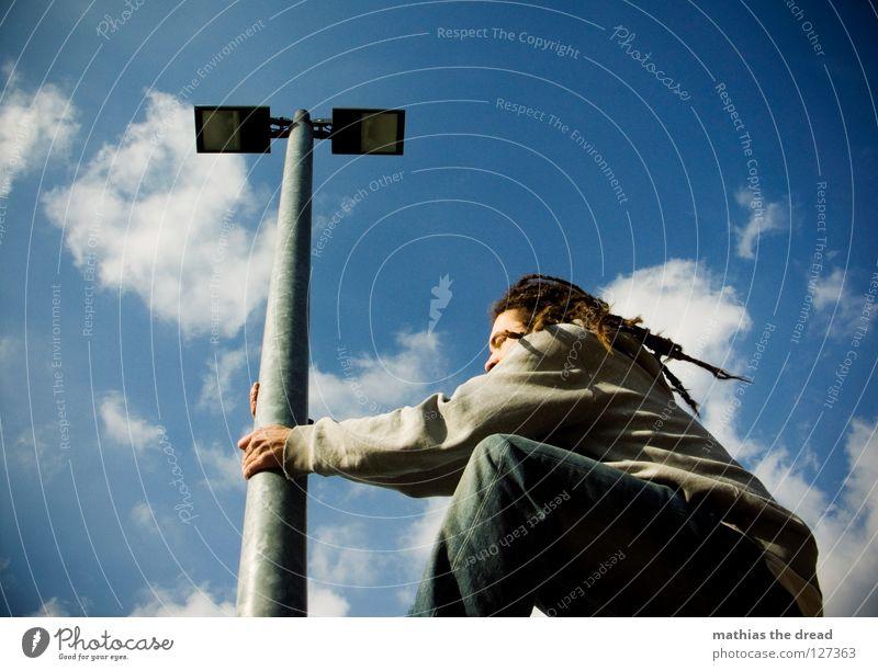 Sky Man Blue Beautiful Sun Clouds Relaxation Graffiti Legs Lamp Line 2 Bright Weather Power Tall